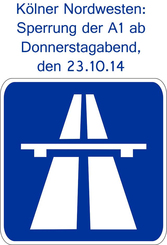 stperrung der A1 im Kölner Norden