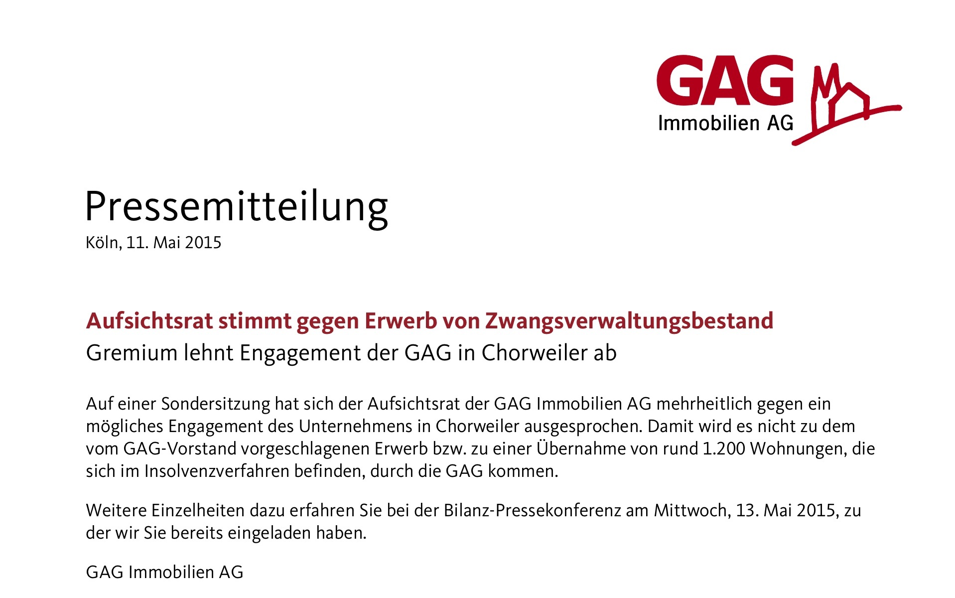 Pressemitteilung der GAG
