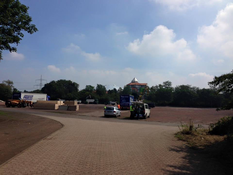 Bauarbeiten am Parkplatz am Aqualand haben begonnen.