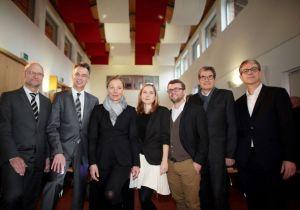 Michael von der Mühlen, Ernst Uhing, Kathrin Möller, Annegret Stöcker und Daniel Stöcker-Fischer (Querfeld eins), Prof. Zimmermann und Prof. Ludwig Wappner - Foto: Thilo Schmülgen / GAG