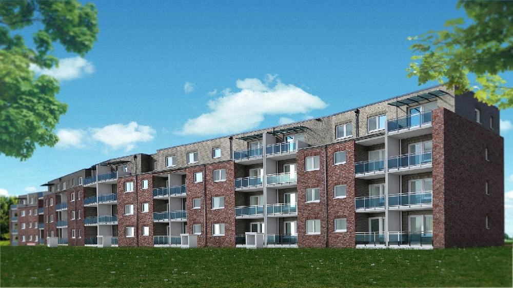 Visualisierung des Neubauprojekts am Kalkweg. Dort entstehen vier Mehrfamilienhäuser mit 50 geförderten Mietwohnungen. Detailänderungen sind noch möglich. Visualisierung. Sahle Wohnen