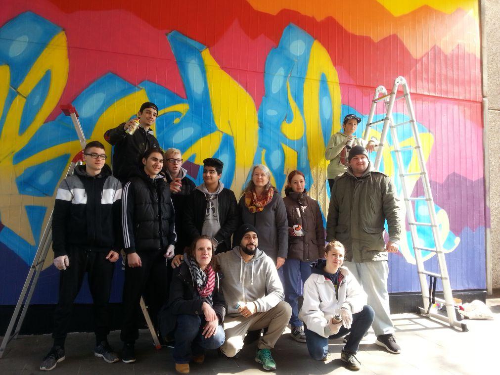 Teilnehmer der Kunstaktion