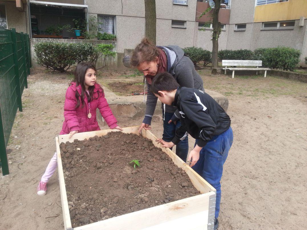 Lale und Kinder begutachten die neue Plantage.
