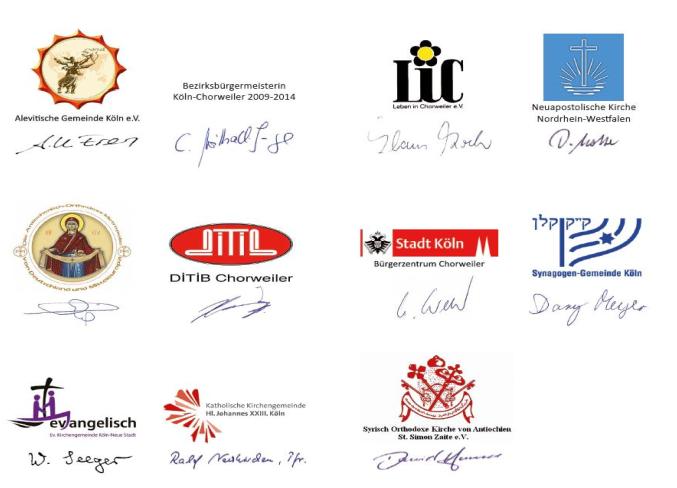 Der Runde Tisch Frieden in Chorweiler, u. a. mit folgenden Mitgliedern: