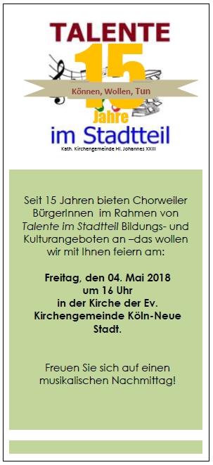 Talente im Stadtteil-15 Jahre in Chorweiler