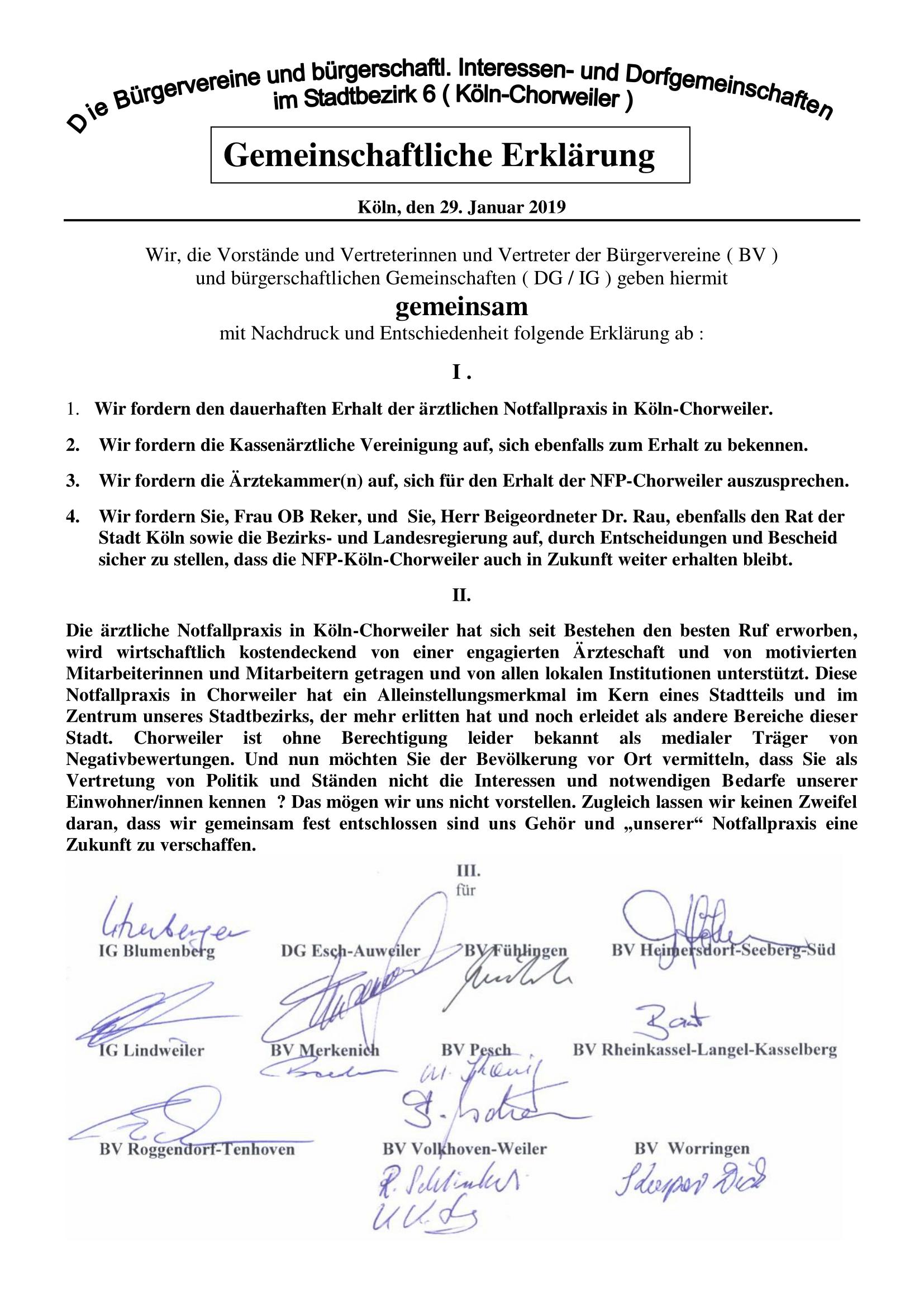 Erklaerung der Bürgervereine